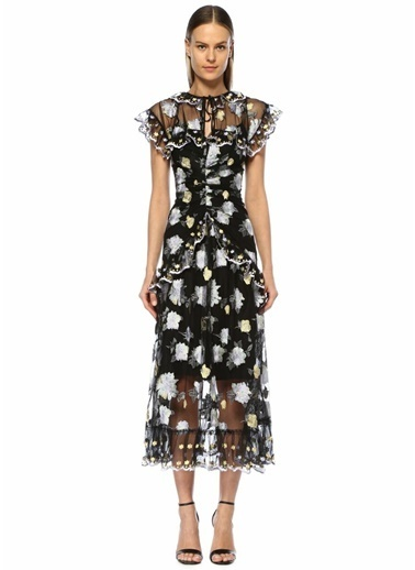 Alice McCall Floating Çiçek Nakışlı Maksi Tül Elbise Siyah